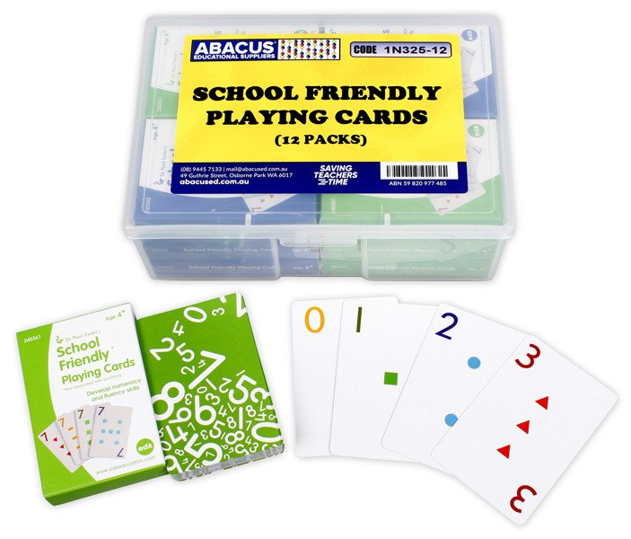 School Friendly Playing Cards - Box of 12 Packs