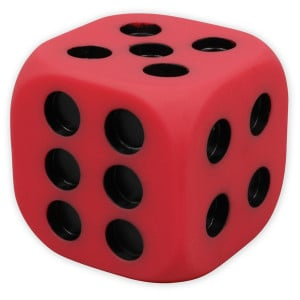 Jumbo PVC Dice - 6 Sided Dotted - Bag of 10