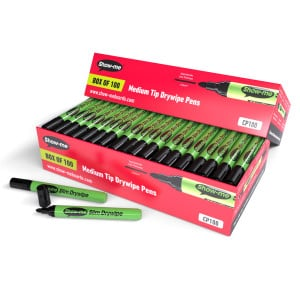 Show-me Drywipe Pens - Black (Box of 100)
